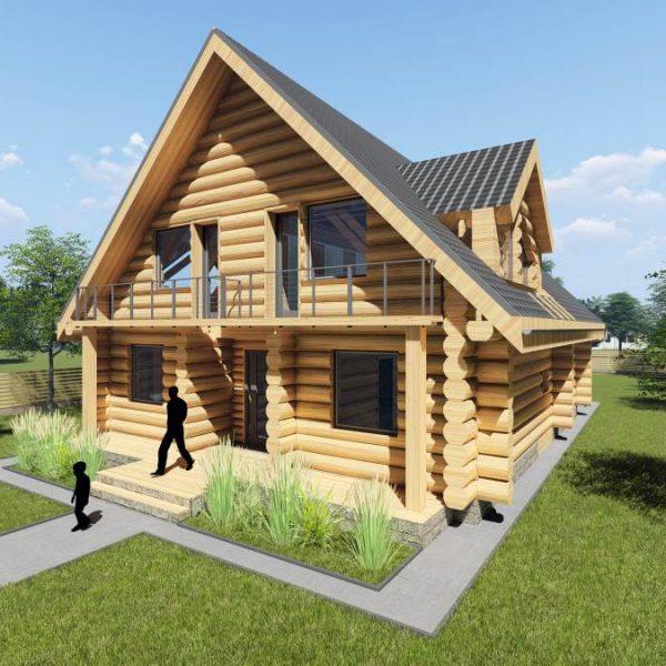 Dom drewniany - projekt wyk przez biuro projektowe Białystok