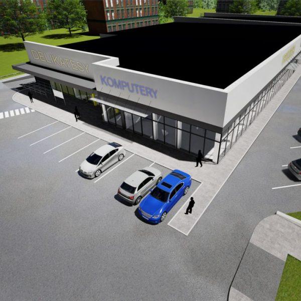 Projekty budynków handlowych w Białymstoku